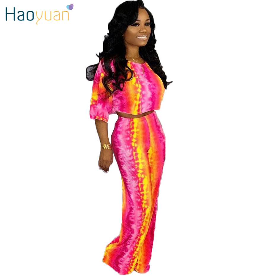 HAOYUAN Tie Dye Two Piece Set Summer Clothes For Women 2019 Festival Crop Top And Pant Suit Sexy 2 Piece Outfits Matching Sets