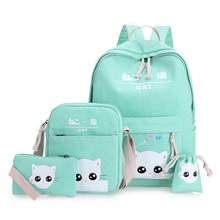 Freies verschiffen grüne katze rucksäcke für teenager schultasche für mädchen set 4 grün jugendliche rucksack mint green Korean zurück pack