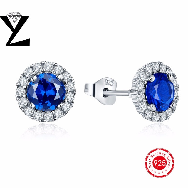 Special Offer!!!2016 Genuine 925-Sterling-Silver Stud Earring Round Simple Violet Earring Female Models Silver Jewelry for Women