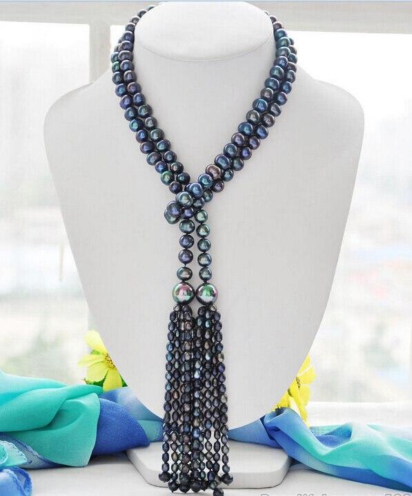 >>>> Z6084 Nouveau Style 10mm paon noir ronde d'eau douce collier de perles 50 pouces