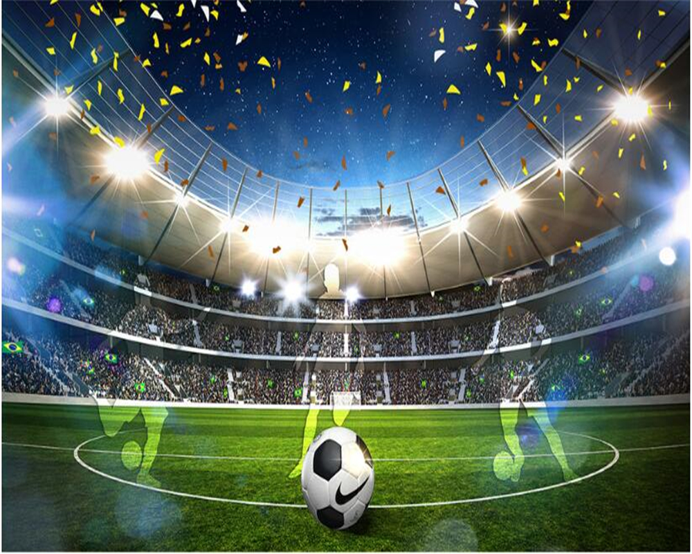 beibehang HD fashion personality indoor papel de parede 3d wallpaper huge football field 3D background wall