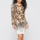 Save 9.34 on Casual tropical floral Vestidos Fiesta Lady Deep V-neck Sexy Clubwear Leopard Bodycon Long Sleeve Women Elegant Dresses 012