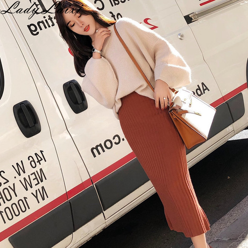 Casual 2 Pieces Set Lantern Sleeve V neck Pullovers sweater & High Waist Side Split Skirt Women Sweater Warm Suits Knitted Set