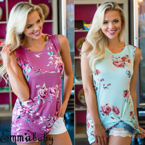 Women Sexy Summer Floral Vest Long Tops Sleeveless Casual Loose Summer Beach Tank Tops