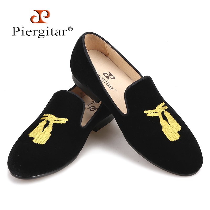 Piergitar 2018 New style Handmade Men Loafers With Tassel Embroidery Leather insole Slip-on Fashion party and wedding men shoes piergitar 2016 new india handmade luxurious embroidery men velvet shoes men dress shoes banquet and prom male plus size loafers