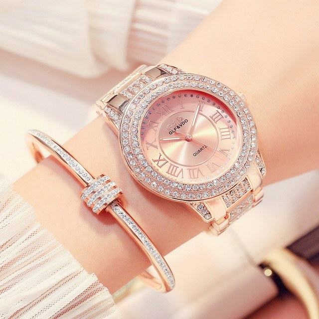 G&D Women Watches Luxury Brand Fashion Quartz Ladies Stainless Steel Bracelet Wa
