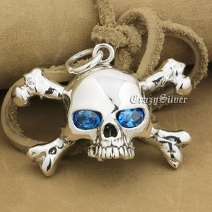 Image 1 - 925 Sterling Silver CZ Eyes Skull Cross Bone Mens Biker Rocker Punk Pendant 9V024 Just Pendant