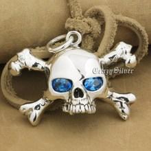 925 Sterling Silver CZ Occhi Del Cranio Croce Bone Mens Biker Rocker Punk Del Pendente 9V024 Solo Del Pendente