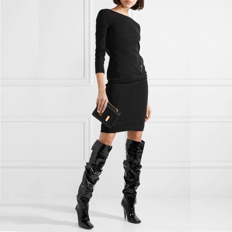 Sexy Plissée Noir Cuir Bout Pointu Femmes Bottes Genou haute Show Spectacle Sapato Dames Chaussures Feminino Talon En Verni Étrange As Botas eCxorBdW
