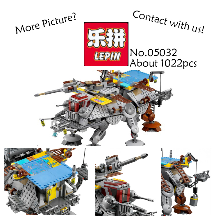 LEPIN 740Pcs Star Wars Captain Rex's AT-TE Building Bricks Blocks Starwars 05032 Toys for children Gift compatible with  75157 building blocks super heroes back to the future doc brown and marty mcfly with skateboard wolverine toys for children gift kf197