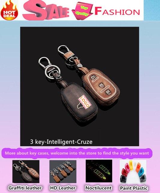 Alta calidad car styling cubierta detector de cuero de vaca teclas de control remoto de casos bolsa inteligente / plegable Graffiti especial para Cruze fold
