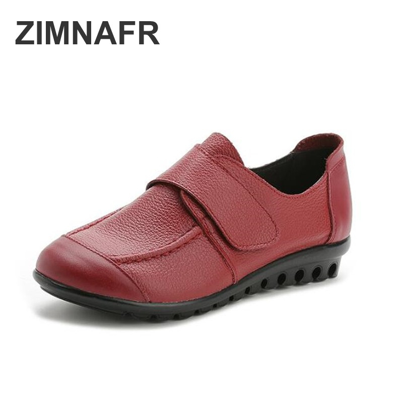 ZIMNAFR BRAND WOMEN FLATS NEW SPRING  GENUINE LEATHER  SHOES WOMEN CASUAL FLATS ANTISKID WOMEN SHOES PLUS SIZE 35-43