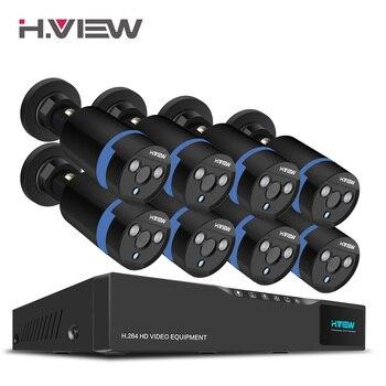 H. вид 16CH системы видеонаблюдения 8 1080 P Открытый безопасности Камера 16CH CCTV видеорегистратор комплект видеонаблюдения iPhone Android удаленного пр...