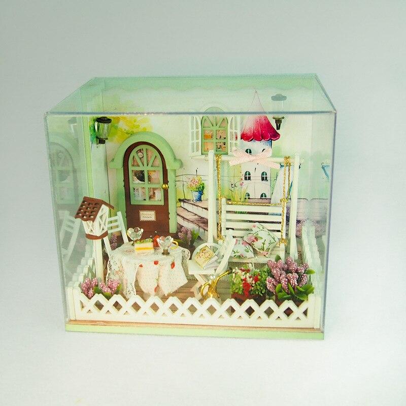 DIY деревянный кукольный домик Миниатюрный Сад Кукольный домик Miniatura деревянные строительные мебель модель для ребенка игрушки подарки на д...