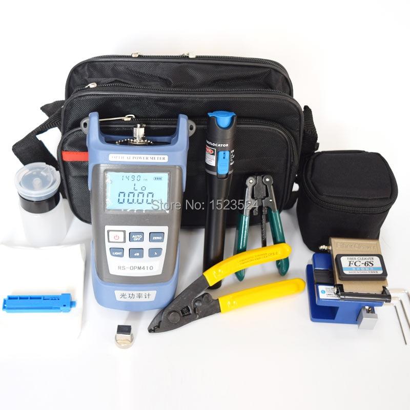 12 pçs/set FTTH Kit de Ferramentas De Fibra Óptica com Fibra Cleaver-70 ~ + 10dBm Medidor de Potência Óptica localizador Visual de Falhas lcator 5 km