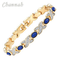 Channah 2017 Trendy Health Women 2-Tone Silver Gold Magnetic Bracelet Blue Stones Ladies Bangle Jewelry Gift Wristband Charm