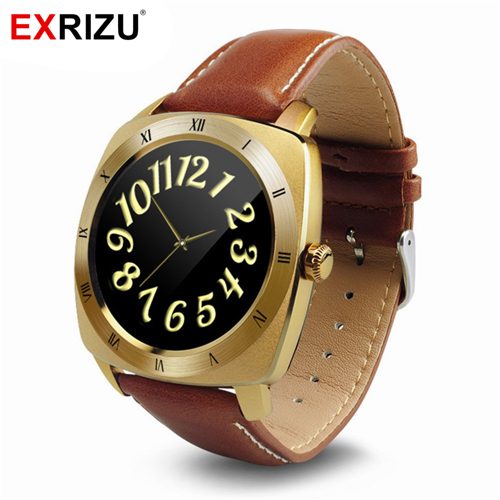 EXRIZU Business Watch DM88 Smart Watch Call Reminder Heart Rate Leather Strap Bracelet Wristwatch for Apple iPhone Android Phone health heart rate monitor smartwatch bluetooth watch for android apple iphone symrun power classic business smart watches dm88