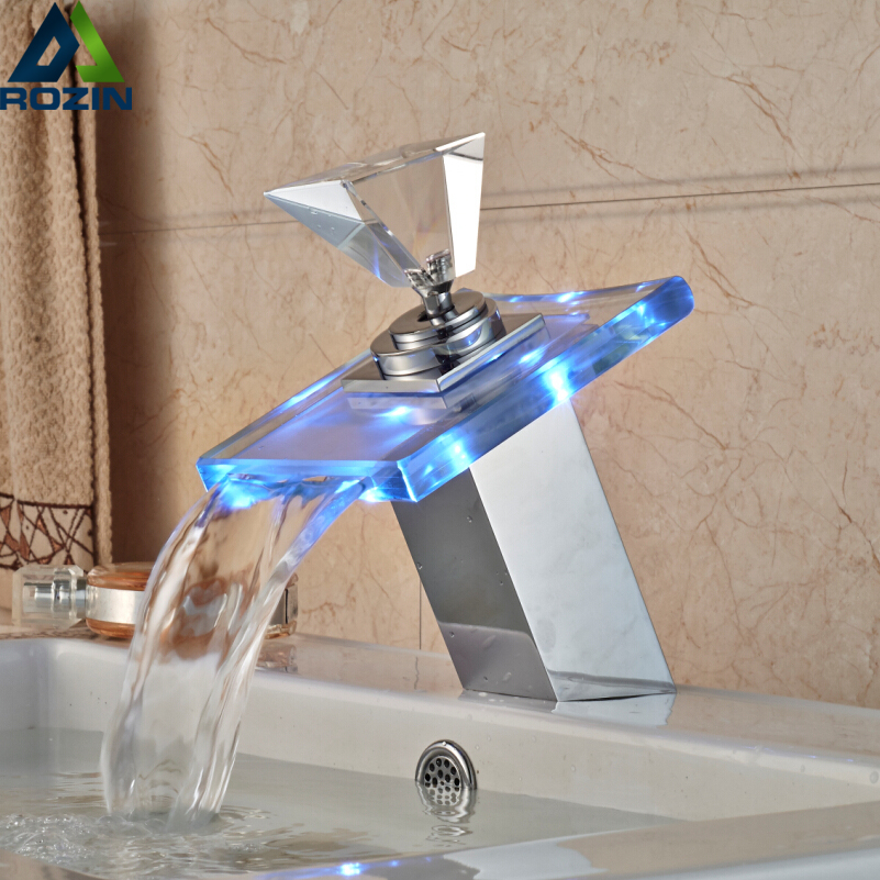 цена на Luxury Glass Waterfall Basin Faucet LED Color Changing Bathroom Battery Mixer Tap Chrome Finish
