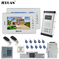 JERUAN 7 LCD Video Door Phone 2 White Monitor 1 HD Camera Apartment 1V2 Doorbell RFID