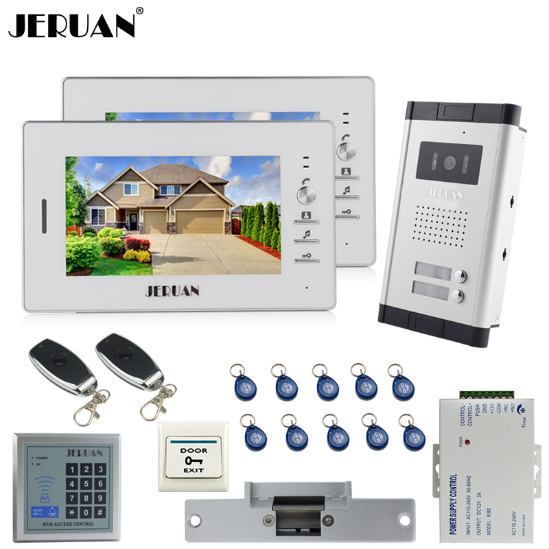 JERUAN 7`` LCD video door phone 2 white Monitor 1 HD Camera Apartment 1V2 Doorbell+RFID Access Control+FREE SHIPPING jeruan apartment 4 3 video door phone intercom system kit 2 monitor hd camera rfid entry access control 2 remote control