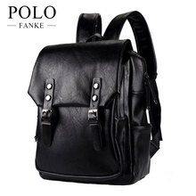 4570cebfc6 FANKE POLO PU Leather Men s Backpack Youth School Bags for Teenagers Male  Black Color Fashion Travel