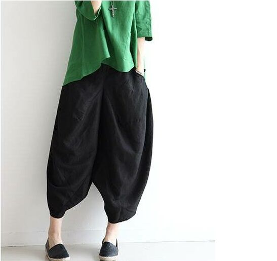 Women Pants Summer Plus Size Elastic Waist Pants Casual Short Capris Pantalon femme Loose Trousers Pockets Seven Casual  Pants