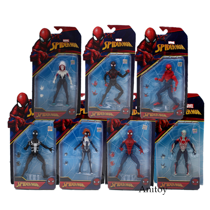 Marvel Spider Man Homecoming Spiderman 2099 Agent Venom Gwen Stacy Spider Woman PVC Action Figure Toys 7 Styles figma x man series spiderman figure no 001 revoltech deadpool with bracket no 002 revoltech spider man action figures
