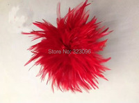 Free Shipping 1bundle Red Rooster Feather Trims 5 6inch Chicken feather Trimming Cock Tail Ribbons/Strips For Dress