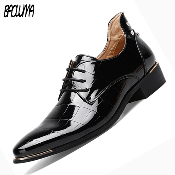 BAOLUMA Men Formal Dress Shoes Italy New Arrival Wedding Oxfords Round Toe Men's Party Flats Mens Shoes Large Sizes