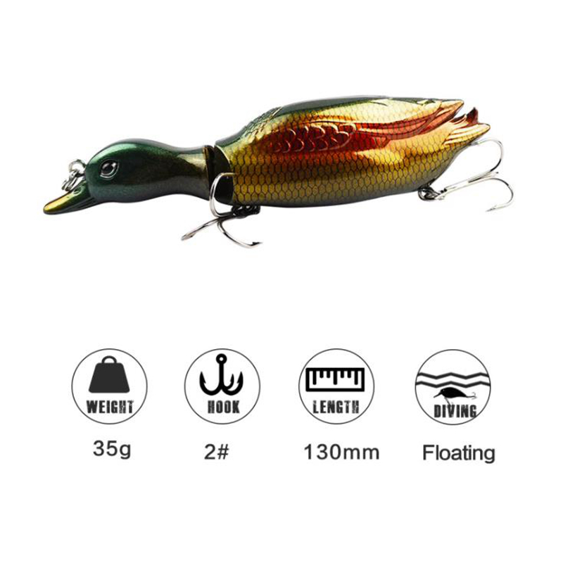1PCS 35g 13cm 3D Lifelike Duck 2 Segment Topwater Fishing Lure Floating Artificial Bait 2 Treble Hook Hard Fishing Tackle Geer in Fishing Lures from Sports Entertainment