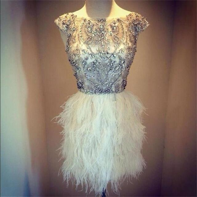 Luxurious Ivory Cocktail Dresses 2017 Sheath Cap Sleeves Beaded Crystals Feather Short Mini Homecoming Dresses Gowns JW06