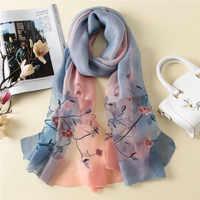 2019 ฤดูร้อนผู้หญิงหรูหราผ้าพันคอขนาดใหญ่ผ้าพันคอผ้าไหมผ้าคลุมไหล่และ wraps คุณภาพสูงเย็บปักถักร้อยผ้าพันคอ foulard หญิง