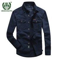 2018 Plus size M 5XL Autumn men's casual brand army green long sleeve shirt man spring 100% pure cotton afs jeep khaki shirts