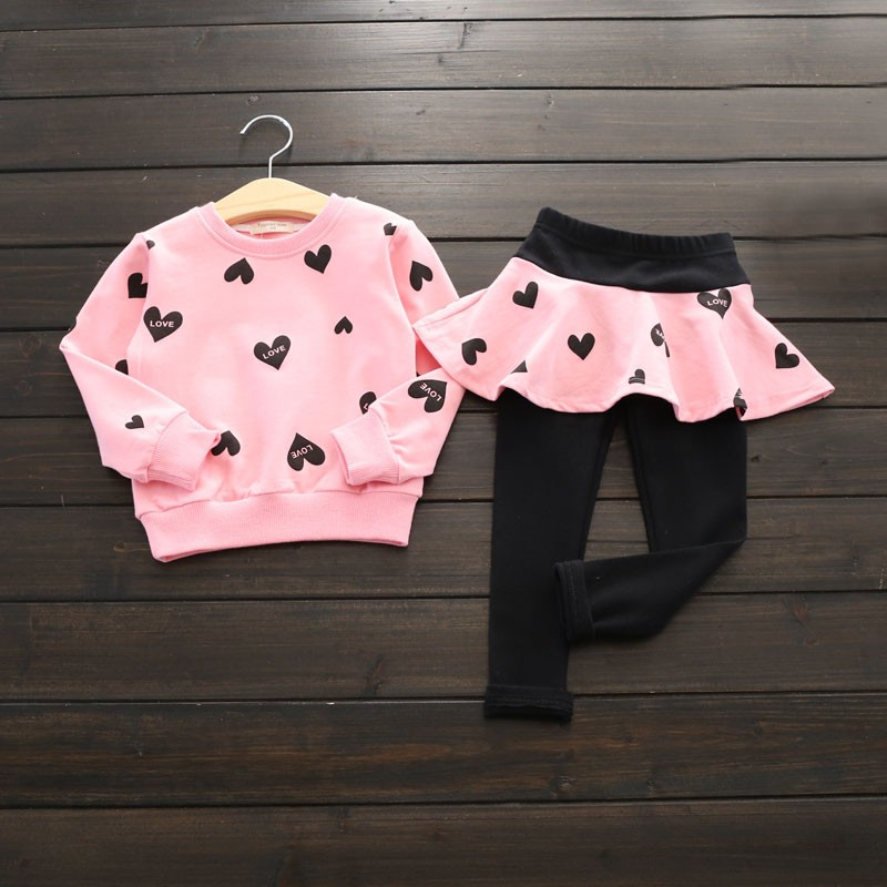 Autumn Kids Girl's Heart Printed Set Long Sleeve T-shirt Tops+Skirtpants Kids Clothes Set Baby Girls Clothing Sets 2 Pcs/SET baby girls clothes raglan tops v day raglan girls red heart raglans autumn top girls valentines day icing raglans tshirt