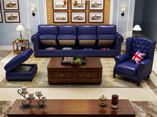 Classic American Storage Leather Sofa Brass Nailhead living room sofa set 1+2+3 made in China