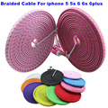 BrankBass 1M/2M/3M Flat Braided Woven 8 pin USB Data Sync Charger Cable Cord Wire for iPhone 5 5s 6 6Plus For iphone 7 7plus