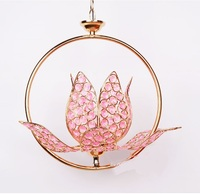 Ring lotus leaf pink lotus Pendant Lights lotus entrance hall lamp bedroom balcony Buddhist Buddha lighting lu731355
