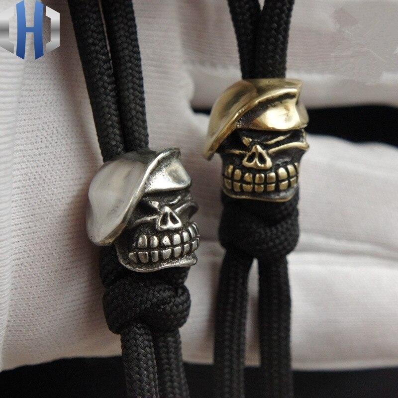 Handmade Beret Skull Knife DIY Pendant Rope Pendant EDC Knife Beads