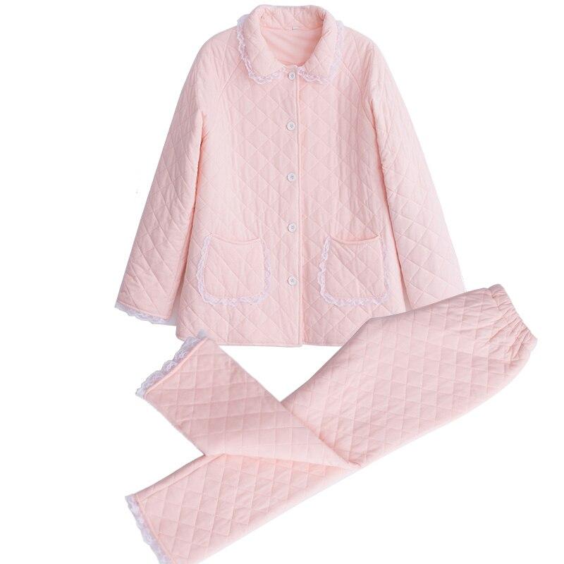 2019 Winter Neue Baumwolle Frau Pyjamas Zwei Stück Lange Sleeve Prinzessin Spitze Nachtwäsche Weibliche Verdicken Warm Halten Pyjama sets DS1007