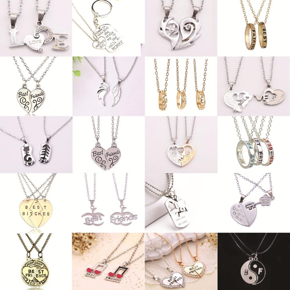 Hot 2Pcs Heart Broken Letter Friendship BFF Necklace Set Best Friends Forever Pendants Necklace Gift