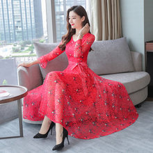 2019 Summer women dress V Neck Short Sleeve Large Size Print chiffon midi dress plus size dresses for women vestidos elegantes(China)