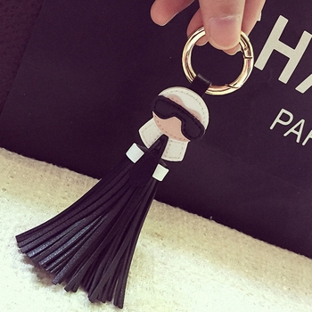 Cute key chain for Women Kar trinket Bag Bugs Car key ring Tassels Bag Charm Holder Ornaments Leather keychain K008-black