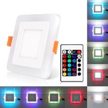 Ultra Slim 6/9/18/24W Dual Color RGB LED Panel Light Concealed Cool White Lamp Square Ceiling Light AC 100-265V
