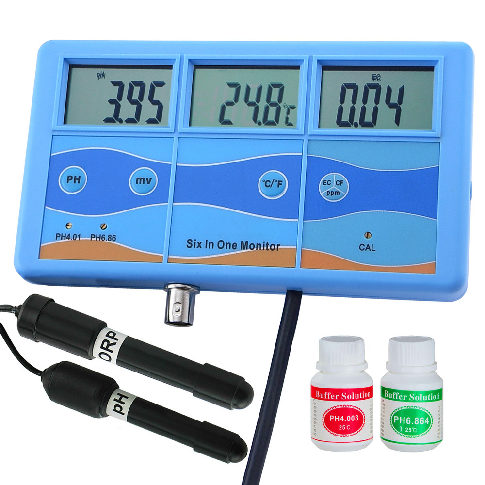 Multi-function 7-in-1 ORP mV PH CF EC TDS ppm Fahrenheit Celsius Meter Tester Thermometer Water Quality Monitor ph ec cf temp tds orp mv meter tester analyzer 6 in 1 multi function water quality testing monitor conductivity temprature