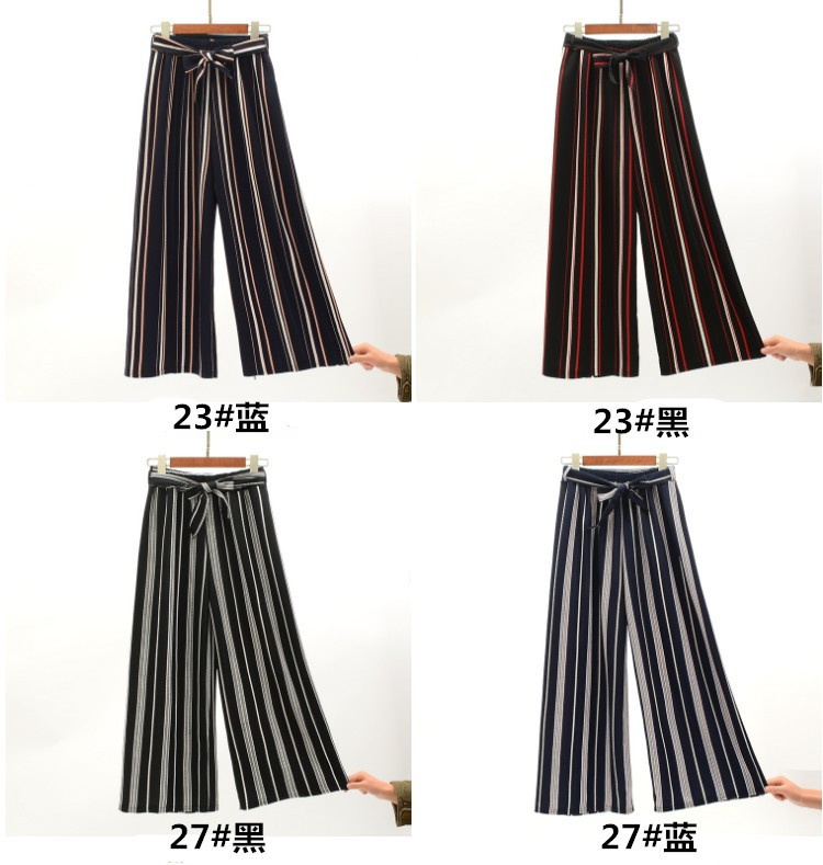 2019 Women Pants Summer New Striped High Waist Loose Pants Striped Straight Nine Pants Women 11