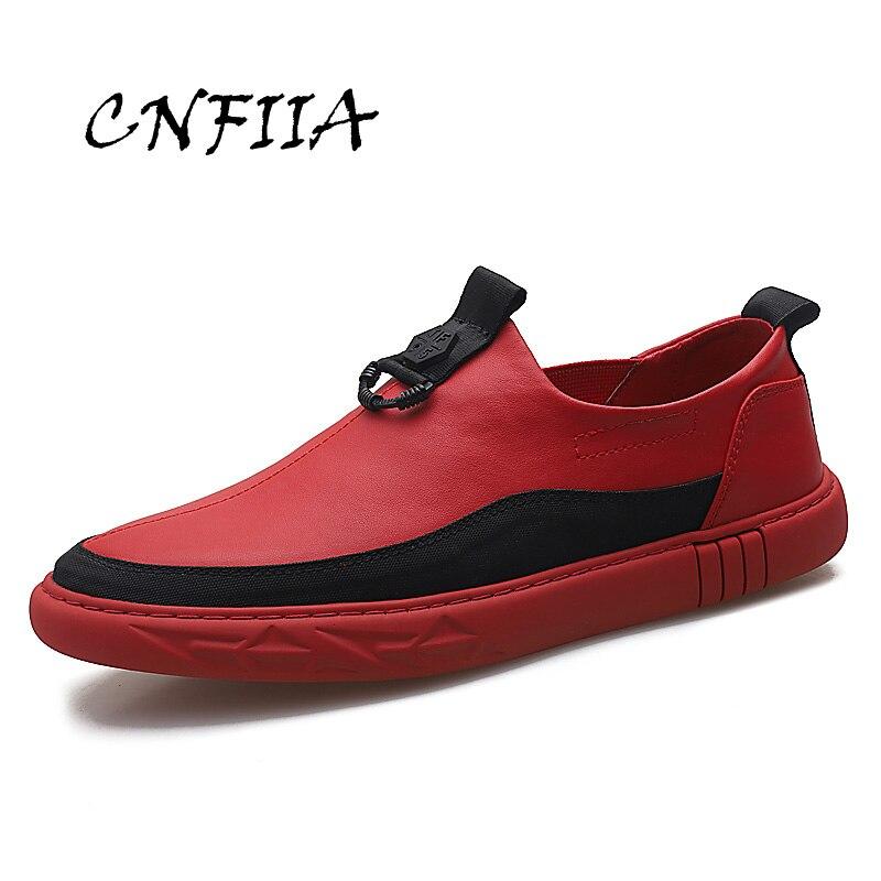 CNFIIA Hommes Chaussures Hommes Mocassins Casual Chaussures Plat Doux Lofers Slip sur Sneakers 2018 Rouge Noir Blanc Top Qualité Véritable en cuir