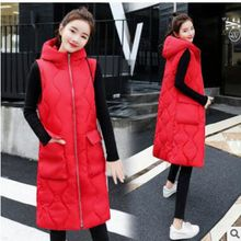 New Brand women vest Winter jacket Hooded Thicken Warm Long Casual Cotton Padded Waistcoat female Sleeveless waistcoat