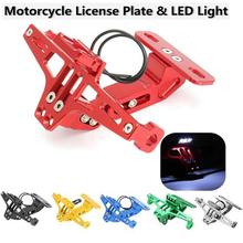 New Motorcycle Adjustable CNC License Plate Number Bracket Holder With LED Lights Universal Accessory