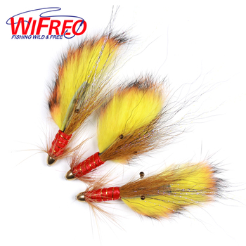 Wifreo 3PCS Conehead Fire Tiger Salmon Tube Fly & Treble Salmon Lures image