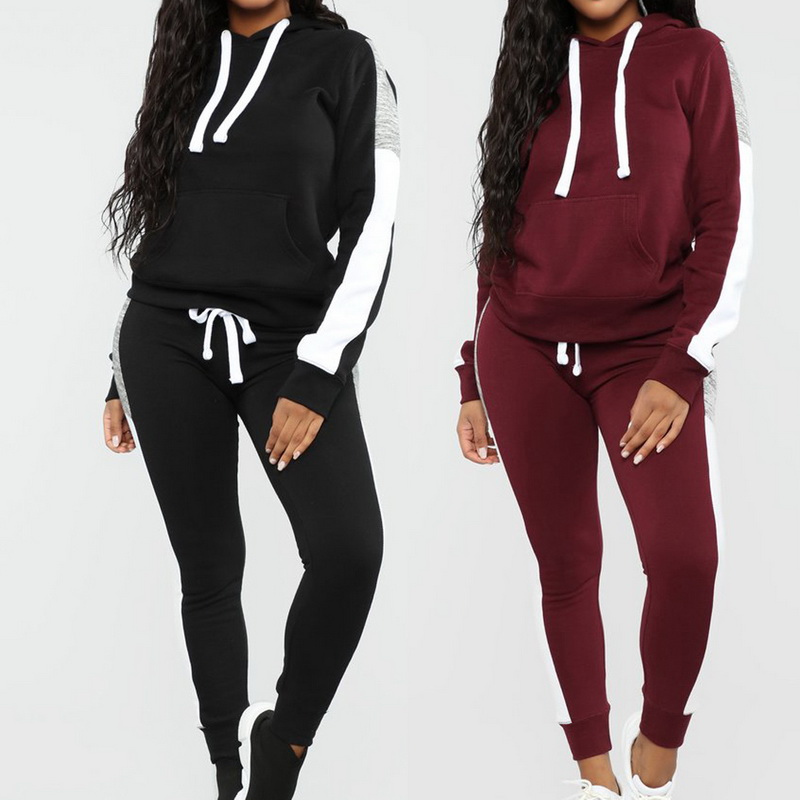 2PCS Women Long Sleeve Hoodies Tracksuits Sets Zipper Jacket Trousers Sports Gym